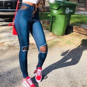 Denim - High-waist Distressed Fishnet Blue Jeans